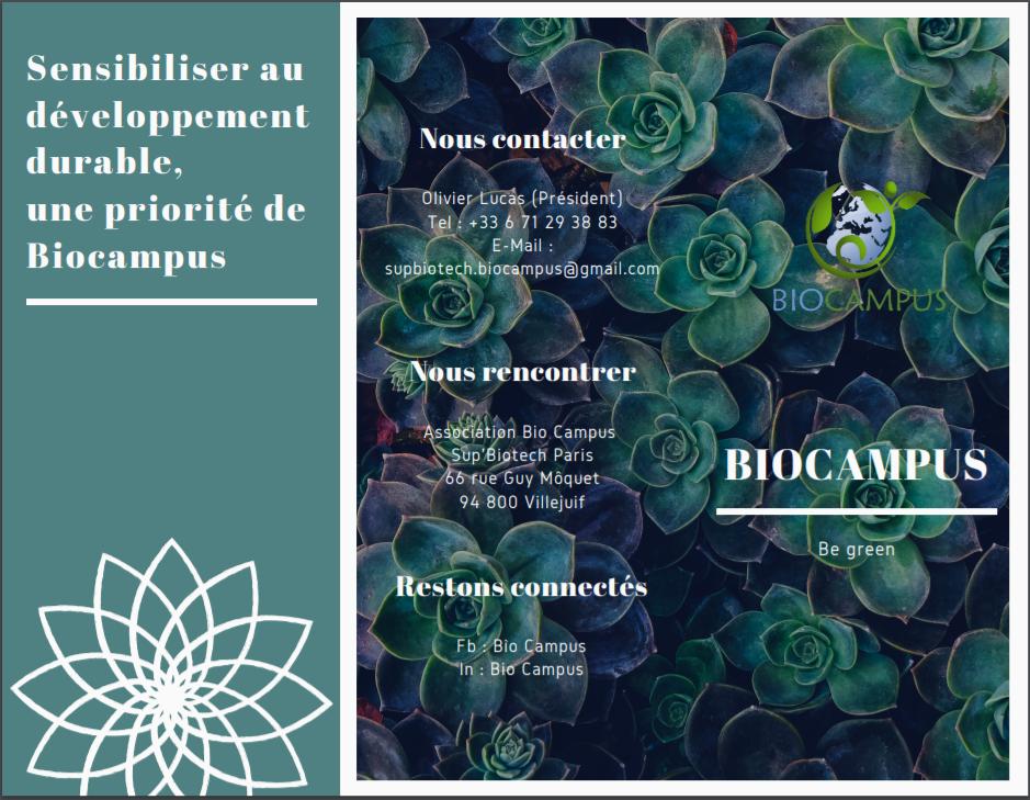 Plaquette Bio Campus (Recto)