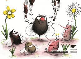 Le monde bucolique de mouches et des morpions